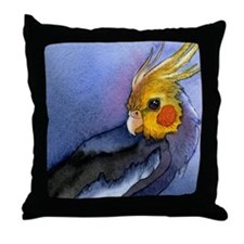 Cockatiel Parrot Watercolor Throw Pillow
