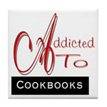 Addicted To Cookbooks Tile Coaster