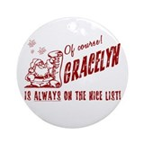 Nice List Gracelyn Christmas Ornament (Round)
