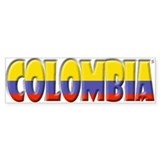 Word Art Flag of Colombia Bumper Car Sticker