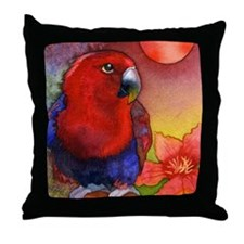 Red Eclectus Parrot Decorative Throw Pillow