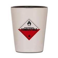 Spontaneously Combustible Warning Sign Shot Glass