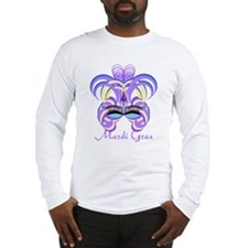 Mardi Gras Purple Feather Mask Long Sleeve T-Shirt