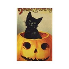 Vintage Halloween, Cute Black Cat Rectangle Magnet