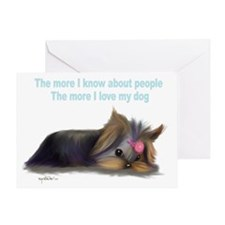 ByCatiaCho Yorkie L.Thinker Greeting Card
