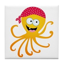 Happy Pirate Octopus Tile Coaster