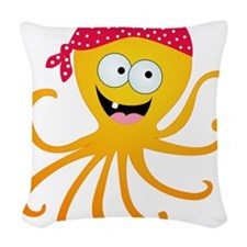 Happy Pirate Octopus Woven Throw Pillow