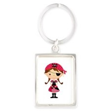 Pirate Girl in Red Portrait Keychain