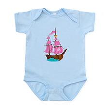 Pink Pirate Ship Infant Bodysuit