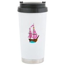 Pink Pirate Ship Travel Mug