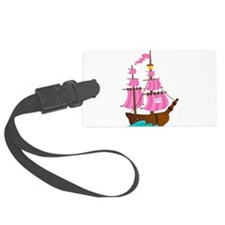 Pink Pirate Ship Luggage Tag