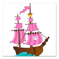 "Pink Pirate Ship Square Car Magnet 3"" x 3"""