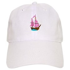 Pink Pirate Ship Baseball Cap