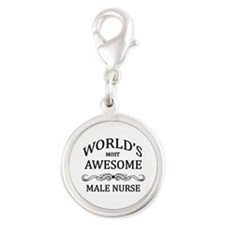 World's Most Awesome Male Nurse Silver Round Charm