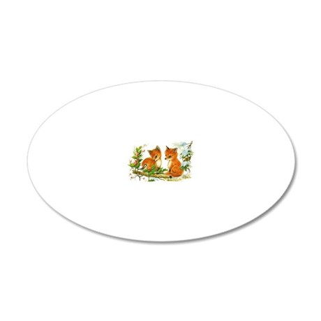 Baby Foxes 20x12 Oval Wall Decal