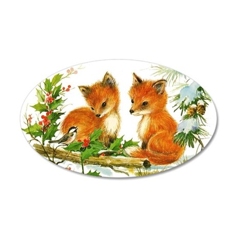 Baby Foxes 35x21 Oval Wall Decal