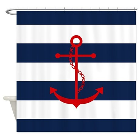 Red Anchor On Blue Stripes Shower Curtain By Mcornwallshop