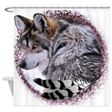 Lace Wolf Shower Curtain