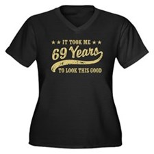 Funny 69th Birthday Women's Plus Size V-Neck Dark