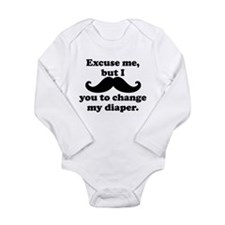 Mustache You To Change My Diaper Body Suit