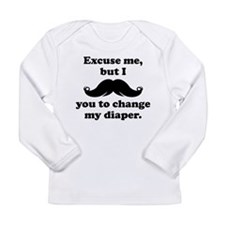 Mustache You To Change My Diaper Long Sleeve T-Shi