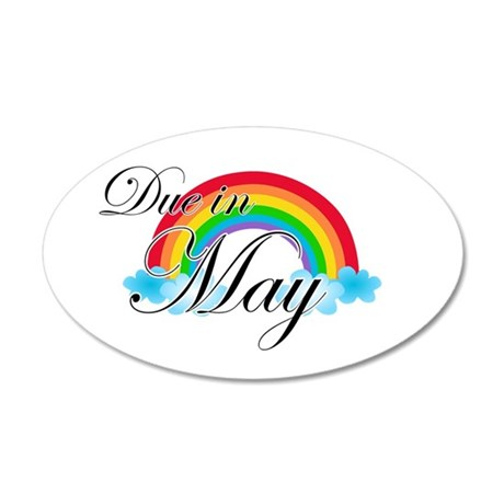 Due in May Rainbow 35x21 Oval Wall Decal