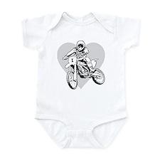 I love dirt biking with a heart Infant Bodysuit