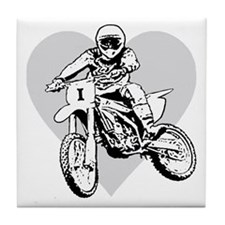 I love dirt biking with a heart Tile Coaster