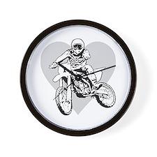 I love dirt biking with a heart Wall Clock
