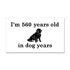80 birthday dog years lab 2 Rectangle Car Magnet