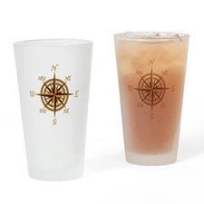 Vintage Compass Rose Drinking Glass