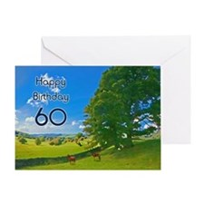 60th Birthday card with landscape Greeting Card
