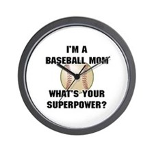 Baseball Mom Superhero Wall Clock