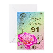91st Birthday Elegant rose Greeting Card