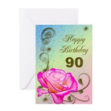 90th Birthday Elegant rose Greeting Card