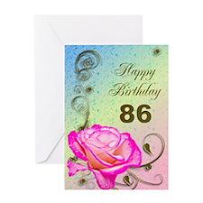 86th Birthday Elegant rose Greeting Card