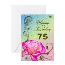 75th Birthday Elegant rose Greeting Card