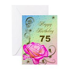 75th Birthday Elegant rose Greeting Card