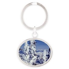 Snow Covered Trees Oval Keychain