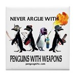 Penguins with Weapons Tile Coaster