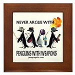 Penguins with Weapons Framed Tile