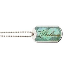 believe teal heart Dog Tags