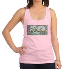 believe teal heart Racerback Tank Top