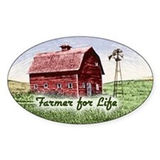 Farmer for Life Oval Decal
