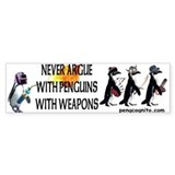 Penguins with Weapons Bumper Bumper Sticker