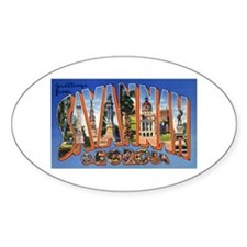 Savannah Georgia Greetings Oval Decal