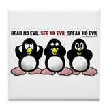 No Evil Penguins Tile Coaster
