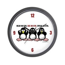 No Evil Penguins Wall Clock