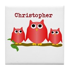 Red Owls Customize Tile Coaster