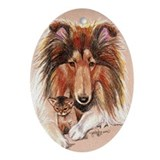 Collie with Kitten Oval Ornament